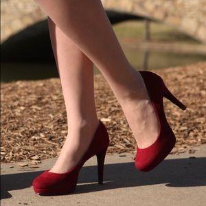 Suede high heel shoes
